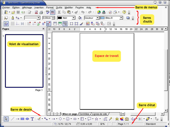 D buter avec dessin draw - Comment numeroter des pages sur open office ...